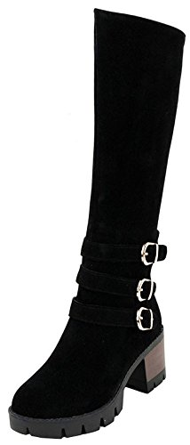 Easemax Women's Fashion Faux Suede Mid Chunky Heeled Round Toe Knee High Boots With Zipper Black 8vCTbHwM