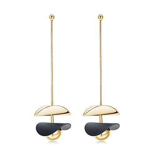 14k Gold Plated Cooper Drop Earrings Wafer Hoop Earrings Dangle Earrings Sterling Silver Round Ball Stud Earrings for Women Girls (Black)