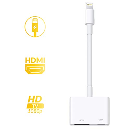 Pavlysh Adapter Compatible with iPhone to HDMI Adapter Cable, Digital AV Adapter 1080p HD TV Connector Cable Compatible with iPhone 11 Pro Xs Max XR 8 7 6Plus, iPad, iPod to TV Projector Monitor