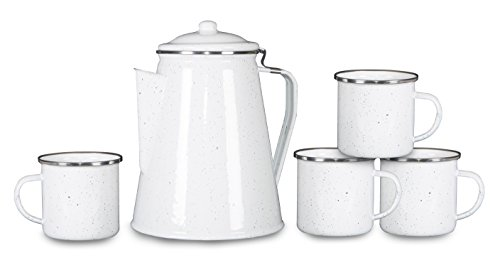 Stansport 11230-03 Enamel Percolator Coffee Pot & 4 Mug Set