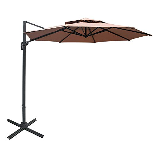 Cheap Sundale Outdoor 11 ft Offset Hanging Umbrella Market Patio Umbrella Aluminum Cantilever Pole w/Stylish Dual Wind Vent, Cover, Crank Lift and Cross Frame, 360°Rotation, for Garden, Deck, Backyard, Tan