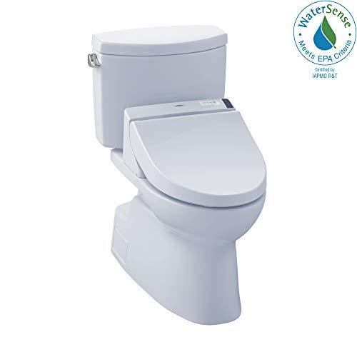 (TOTO MW4742044CEFG#01 WASHLET+ Vespin II Two-Piece Elongated 1.28 GPF Toilet and WASHLET C200 Bidet Seat, Cotton White)