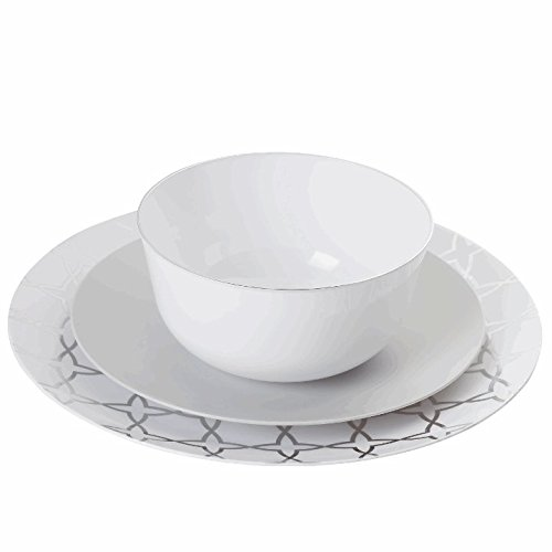Trendables 60 - Pack Combo Premium Disposable Plastic Plates, Food Grade Plastic Dinner Plates - Geo Design Includes: 20 x 10.25
