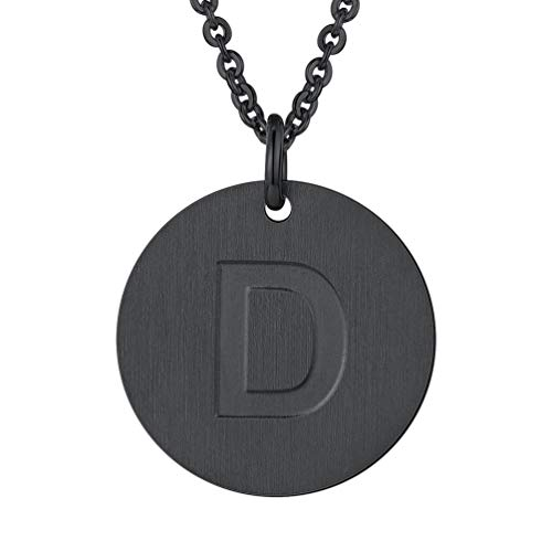 PROSTEEL Initial Letter Necklaces Monogram Alphabet D Minimalist Bridesmaid Personalized Jewelry Friendship Gift Black Coin Men Women Necklace