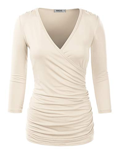 Doublju Womens 3/4 Sleeve V-Neck Surplice Wrap Shirt with Plus Size Ivory Small