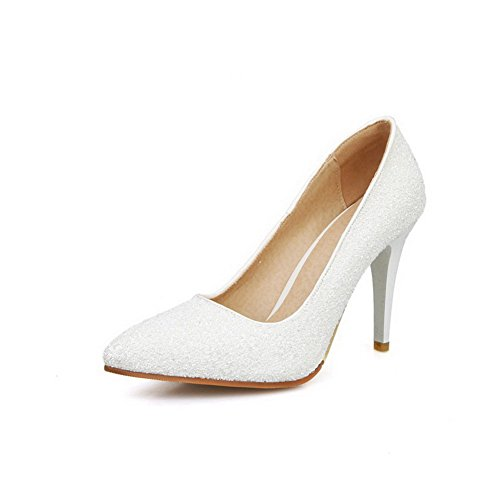 Toe Pointed Pull WeiPoot Pumps Solid High Shoes Sequins Women's Closed On White Heels fwZHR0O