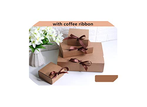Multiple Size Black White Kraft Paper Gift Box Package Wedding Party Favor Candy Boxes with Ribbon,Brown,140x140x50mm 20pcs ()