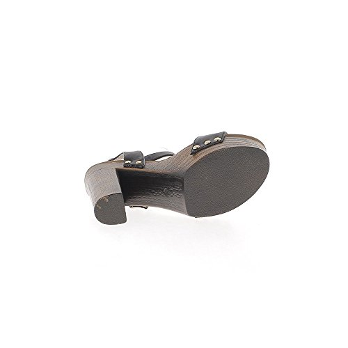 Ver cm tacón sandalias 12 amplia grueso de bridas cuero 5 negro de de nxCwvF