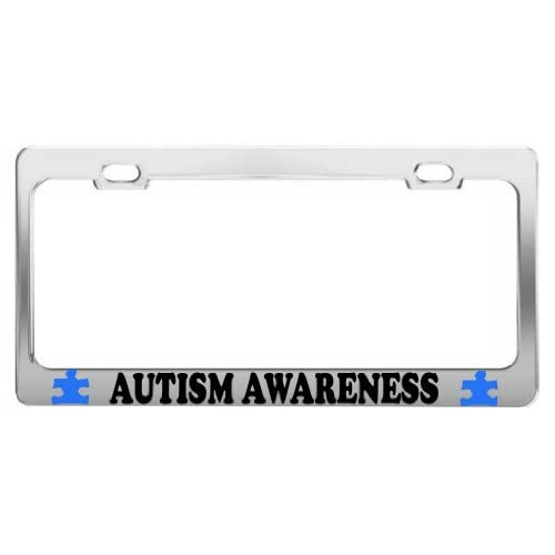 AUTISM AWARENESS TAG LICENSE PLATE FRAME CAR ACCESSORIES CHROME STEEL for cheap