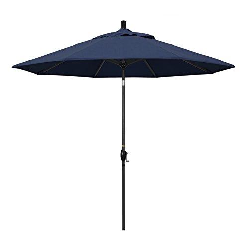 (California Umbrella 9' Round Aluminum Market Umbrella, Crank Lift, Push Button Tilt, Black Pole, Sunbrella Spectrum Indigo)