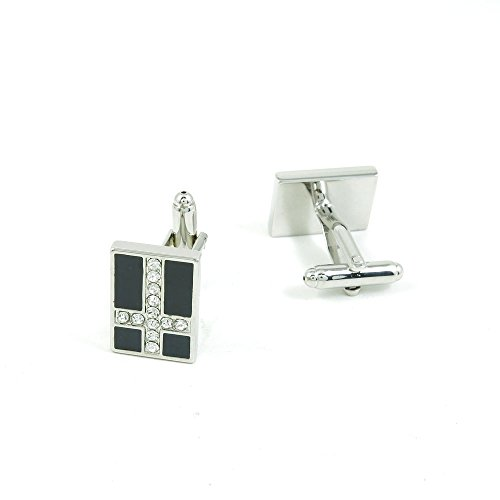 50 Pairs Cufflinks Cuff Links Fashion Mens Boys Jewelry Wedding Party Favors Gift SEG079 Zircon Cross by Fulllove Jewelry