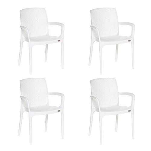 Supreme Texas Plastic Chair  Milky White, Set of 4