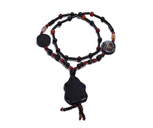 JYXJEWELRY Fashion Agate Necklace 4x13mm Black Red Irregular Agate Necklace with Flower Shape Big Agate Pendant Jewelry for Women 26