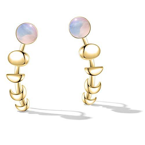 Women Earrings Moon Crawlers Sweep Wrap Earrings Fashion Jewelry Gift Opal Earrings Gold Plated Earrings