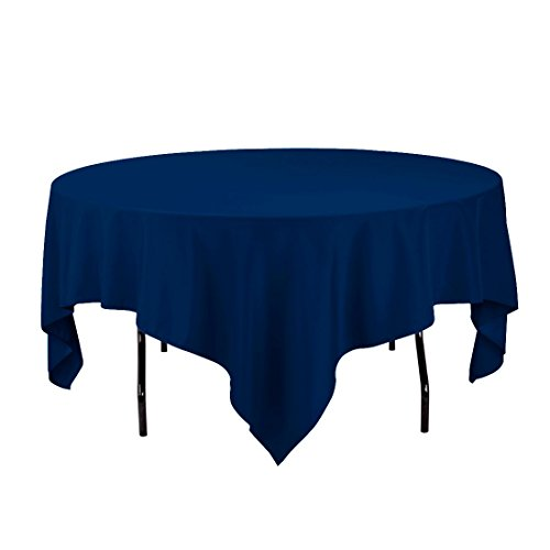 Gee Di Moda Square Tablecloth - 85 x 85 Inch - Navy Blue Square Table Cloth for Square or Round Tables in Washable Polyester - Great for Buffet Table, Parties, Holiday Dinner, Wedding & More