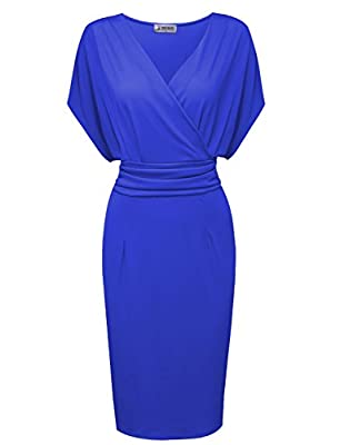 Tom's Ware Women Pleated Waist Surplice Neckline Bodycon Midi Dress