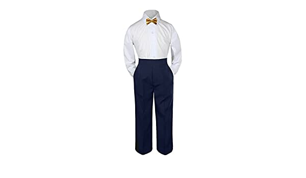 406001805226 Amazon.com: Leadertux 3pc Formal Baby Toddler Boys Gold Bow Tie Navy Blue  Pants Outfits S-7 (M:(6-12 months)): Baby