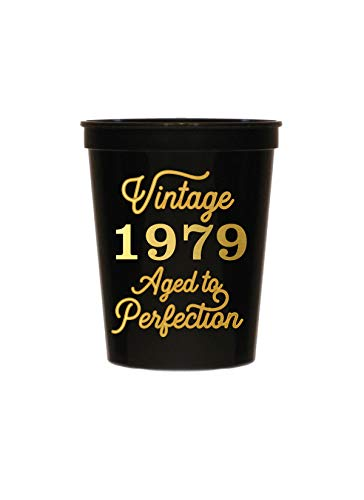 Vintage 1979 Black Cups - Set of 10-40th Birthday Plastic Cups - 40th Birthday Party Stadium Cups - 40th Birthday Decorations Black and Gold ()