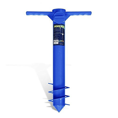Beach Umbrella Anchor Sand Auger and Fishing Pole Sand Anchor by JGR Copa (Blue) For Sale