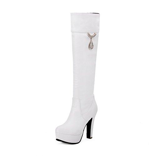 AllhqFashion Damen Ziehen auf Hoher Absatz PU Leder Rein Hoch-Spitze Stiefel Weiß