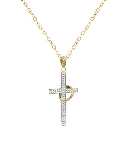 Austrian Crystal Cross - Amata Fine Jewelry 18K Yellow Gold Plated Sterling Silver Rosary Cross Pendant Necklaces for Women - Crystal Studded with Swarovski Austrian Crystals (Cross Pendant w/Metal Ring Gold)