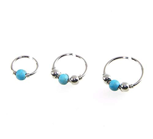 Op H 3pcs Blue Turquoise Sliver Nose Ring Ball Suitable For Nose