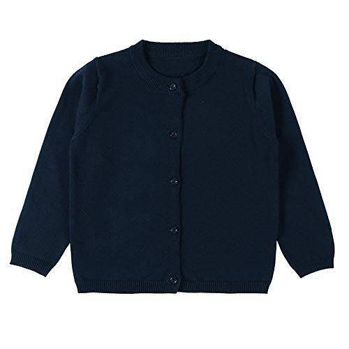 Wennikids Baby Girls' Little Knit Cardigan Button Sweater for 12M-6T 3X-Large Navy Blue