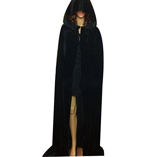 Black Hooded Panne Cloak (Pusheng Unisex Hooded Panne Velvet Cloak COS Costume Halloween Party Cape Black Asia XL)