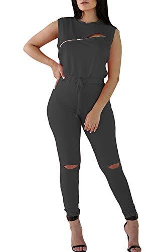 - Meenew Women's Sleeveless One Piece Jumpsuit Front Zip Club Outfits Dark Gray L