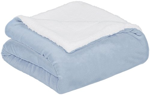 AmazonBasics Soft Micromink Sherpa Throw Blanket - Full or Queen, Smoke Blue
