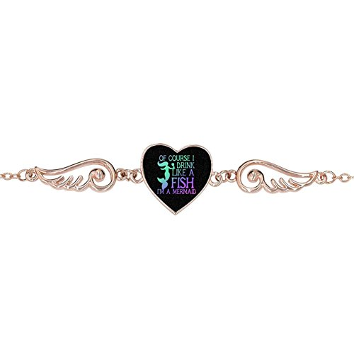 LUQeo Mermaid Personalized Design Heart Charm Bracelet Jewelry