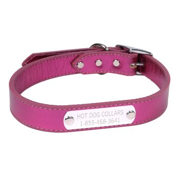 Hot Dog Collars Personalized Leather Dog Collar with Engraved Nameplate, Metallic Pink Leather, Medium ()