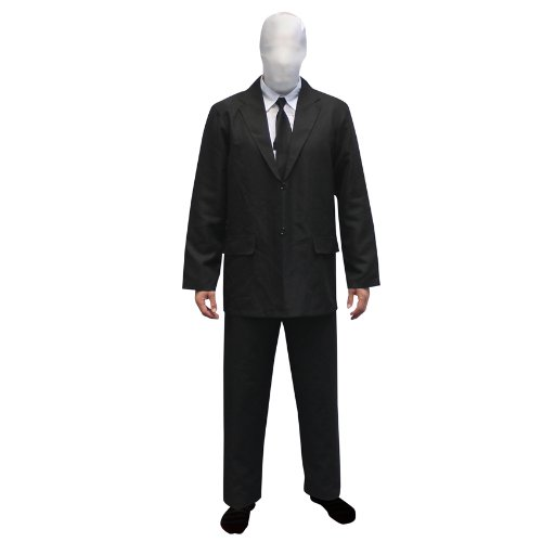 Morphsuits Men's Slenderman Costume Adult, Black and White, Large (5'11