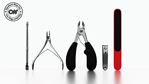 Stainless Steel Thick Toenail Clipper for Ingrown Nails, Cuticle Nipper Scissor, Dead Skin Dirt Pusher, File, Fingernail Cutter Premium Nail Grooming Kit By Opulent Way