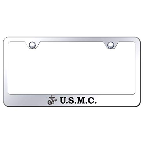 Au-Tomotive Gold, INC. US Marine Corps Laser Etched Chrome Frame Mirror Chrome License Plate - Marines Frame License Plate