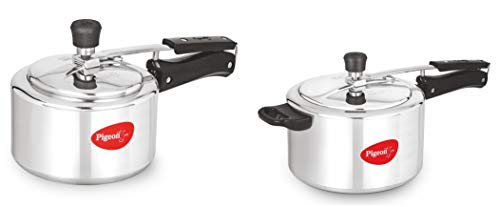 Inner Lid Aluminium Pressure cooker combo pack 2 pieces-3litre 5 litre from Pigeon