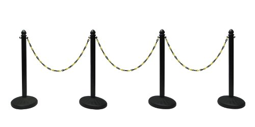 HEAVY DUTY PLASTIC STANCHION 4 PCS SET (BLACK) + 50' BLACK/YELLOW CHAIN, CROWD CONTROL CENTER -