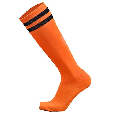 PoityA 9 Colors Men Adult Rib Trim Over Knee Football Soccer Long Socks Double Stripes Printed Breathable Sport Compression Hosiery Towel Bottom Tube Stockings - D#