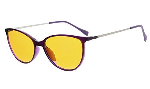 Eyekepper Cateye Style 97% Blue Blocking Reading Glasses,Dark Orange Lens with Anti Reflective Coating Computer Readers (Purple, 1.25) by Eyekepper