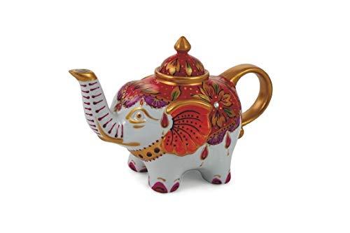 Villa d'Este Home Tivoli 2190988 Patchwork Teapot Elephant, White/Red, Porcelain