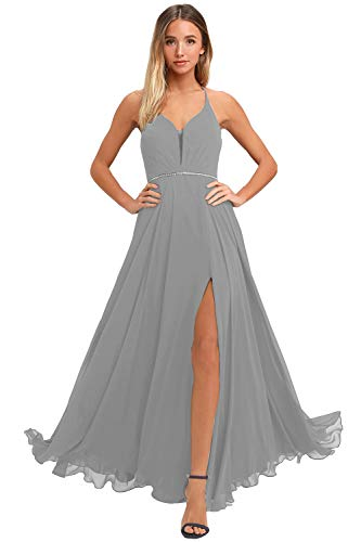 V Neck Backless Long Sleeveless Halter Side Slit Junior Plus Size Bridesmaid Dress for Teens Formal Chiffon Evening Party Gown with Crystal Waistband (18W Silver)