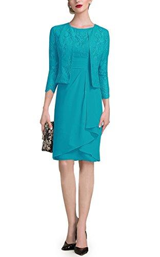Doramei Women's Knee Length High Neck Mother of The Bride Dress with 3/4 Sleeve Jacket Formal Dress Jade 14
