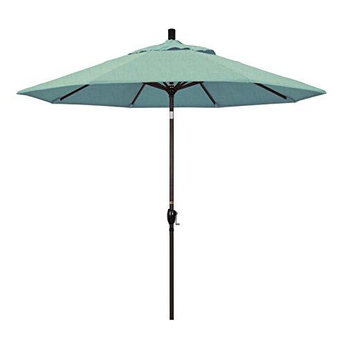 Umbrella Spa - California Umbrella 9' Round Aluminum Market Umbrella, Crank Lift, Push Button Tilt, Bronze Pole, Sunbrella Spa