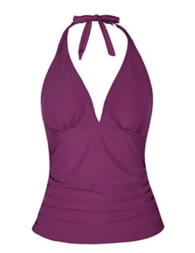 - Mycoco Women's Halter Swim Top V Neck Swimwear Front Shirred Tankini Top Purple US 14