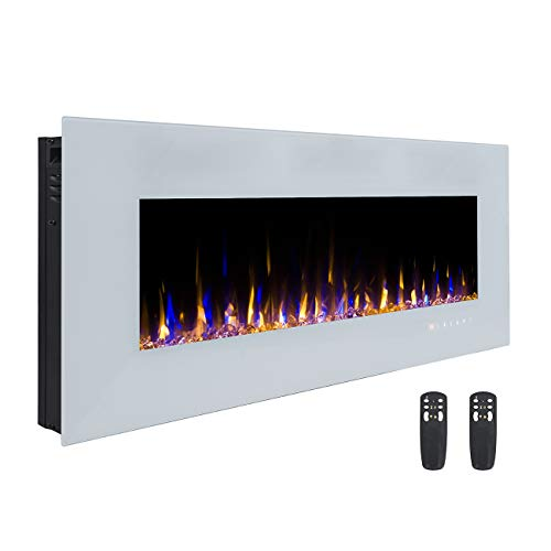 3GPlus 50 Inches Electric Fireplace Wall Mounted Heater Crystal Stone Fuel Effect 3 Changeable Flame Colors with Remote - White ()