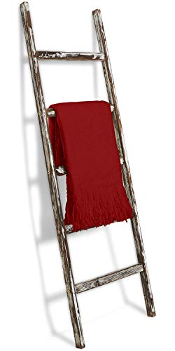 Blanket Ladder 5 ft Rustic Wooden Decorative - Wood Farm Decor Rack for Throw Towel Quilt & Blankets Holder Storage Display Shelf - Leaning Old Antique White Farmhouse Wall Ladders House Decorations