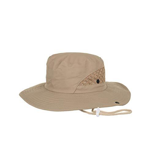 QIQIU New Women's Summer Sun UV Protection Hat Foldable Wide Brim Bucket Mesh Hats for Beach Fishing Khaki