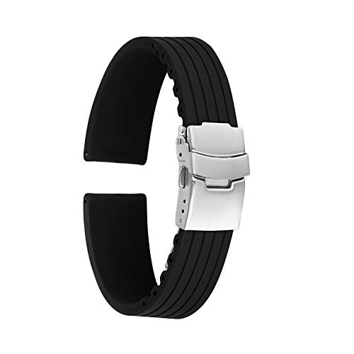 KZFashions Waterproof Sports Universal Tire Tire Tread One Over Silicone Watch Strap (20mm, Black)