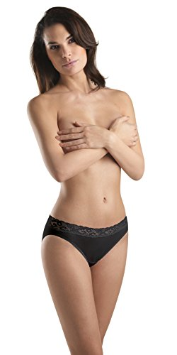 Hanro High Cut Brief - Hanro Women's Moments High Cut Brief Panty,Black,Medium