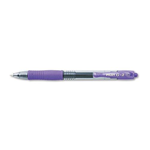 Pilot G2 Retractable Premium Gel Ink Roller Ball Pens, Fine Point, Purple Ink, Dozen Box (31029)